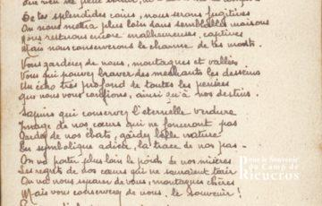 Texte d'adieux à Rieucros