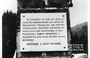 Plaque en hommage à la mémoire des interné-e-s 1978